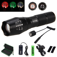 5000 LM Green/Red/White Hunting Torch Tactical Zoomable Flashlight +Scope Mount+18650 Battery Set+Remote Pressure Switch