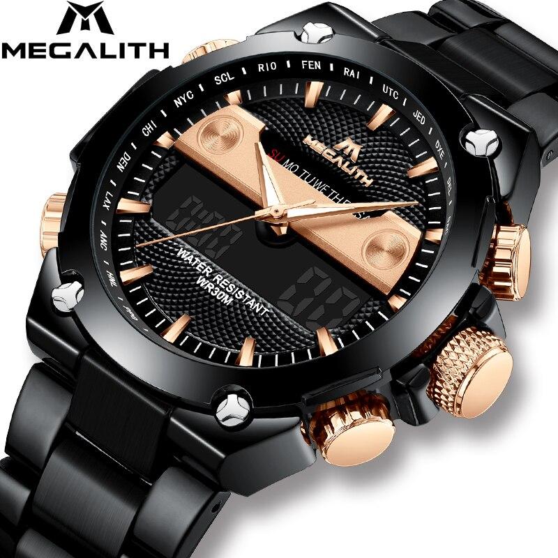 MÉGALITHE De Luxe Numérique Montres Hommes Sport Militaire Étanche Chronographe LED Alarm Date Montre-Bracelet Pour Hommes Horloge Montre Homme