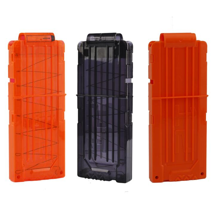 12 Reload Clip Magazines Round Darts Replacement Plastic Magazines Toy Gun Soft Bullet Clip Orange For Nerf N-Strike Toy Guns
