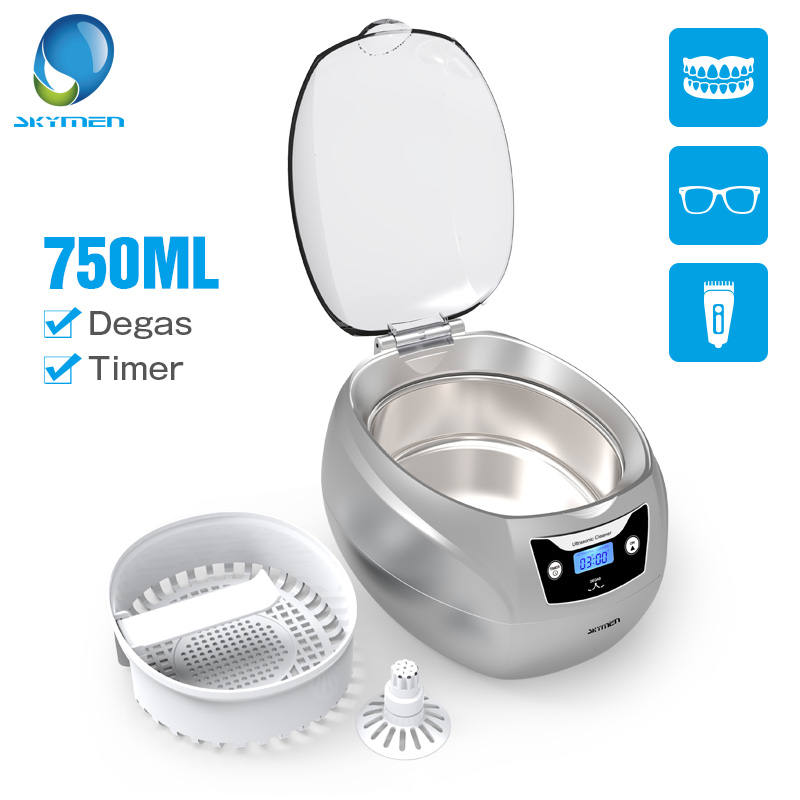 Skymen 750ml 35w Ultrasonic Jewelry Cleaner Bath For Denture Glasses Razor PCB Cutter Degas Timer Ultrasound Cleaning Machine