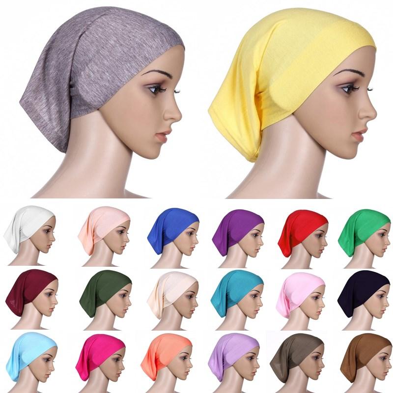 Fashion Full Cover Women Muslim Headscarf Islamic Head Wear Underscarf Shawls Hijabs Solid Colors Women Headbands   Headwear