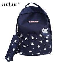 Лидер продаж Студент Книга сумка Для женщин рюкзак высокое качество холст плед элегантный дизайн для девочек мода Kawaii изображениями животных пакет XA352B
