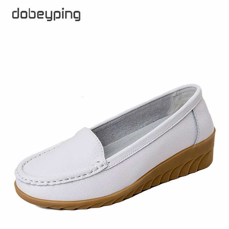 dobeyping 2018 Spring Autumn Shoes Woman Slip On Women's Loafers Solid Female Moccasins Shoe Cow Leather Women Shoes Size 35-42 2017 autumn new style cow leather women s casual shoes moccasins female flats shoe lace up woman loafers driving shoe size 35 43