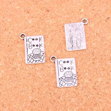 75Pcs Antique Silver Plated cook book recipe kitchen Charms Diy Handmade Jewelry Findings Accessories 17*11mm