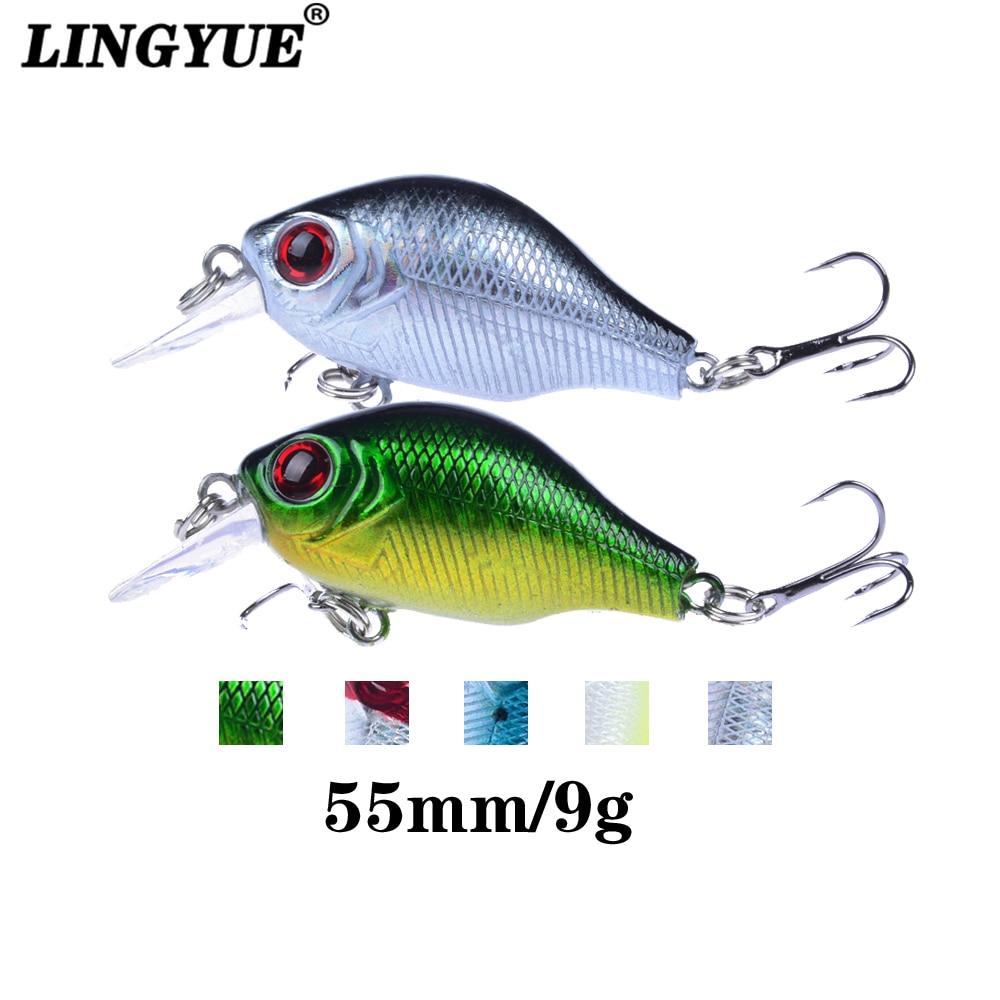 LINGYUE 1PCS Crankbait Fishing Lure 55mm/9g Hard Wobbler Fat Crank Leurre Tackle Isca Artificial Bait Pesca Diving 1M