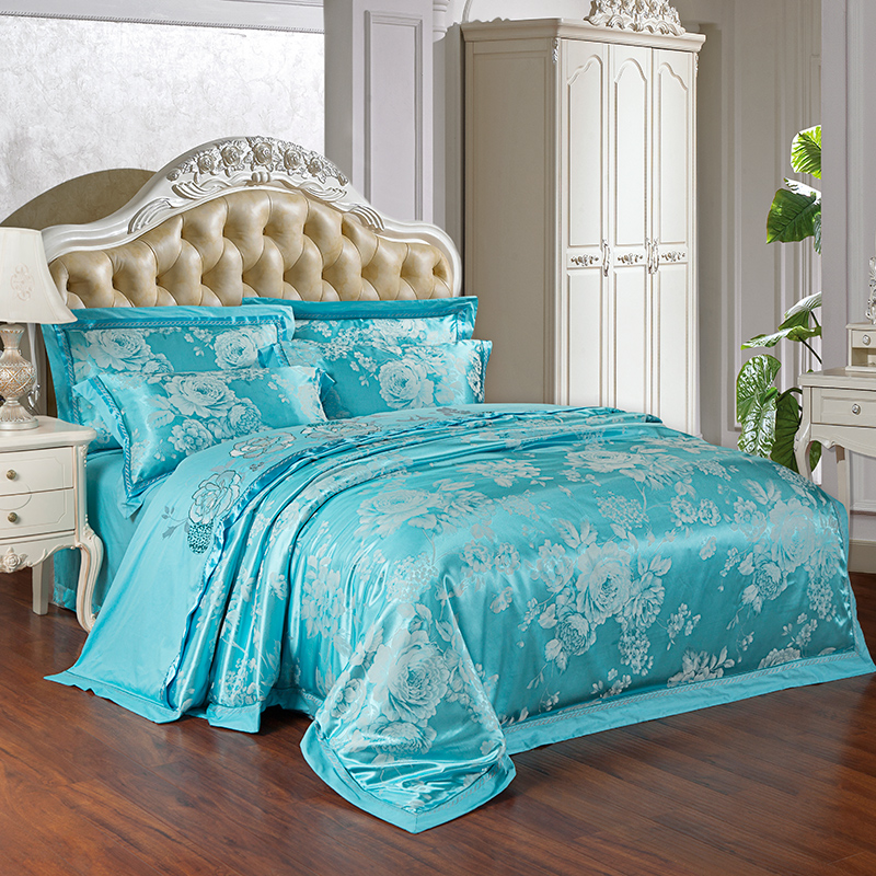 blue luxury bedding set cotton queen size bed sheet jacquard pillow cover 800TC satin silk home textile girls bedspread palace