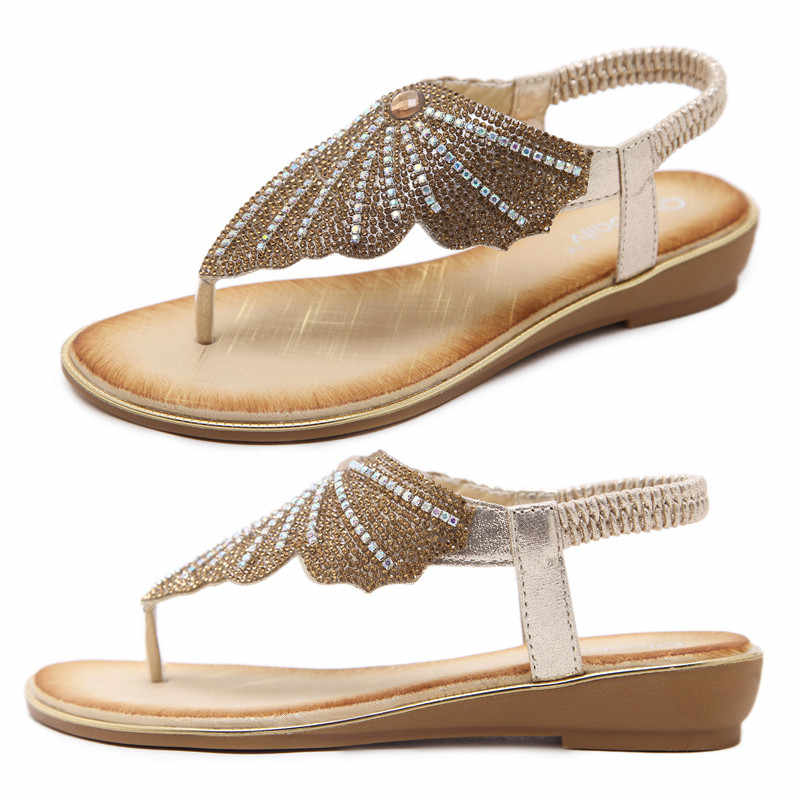 النساء الصنادل الصيف أحذية امرأة المتأرجح السيدات حذاء كاجوال 2019 Sandalias Mujer الراين الذهب صندل مسطح حجم كبير 42