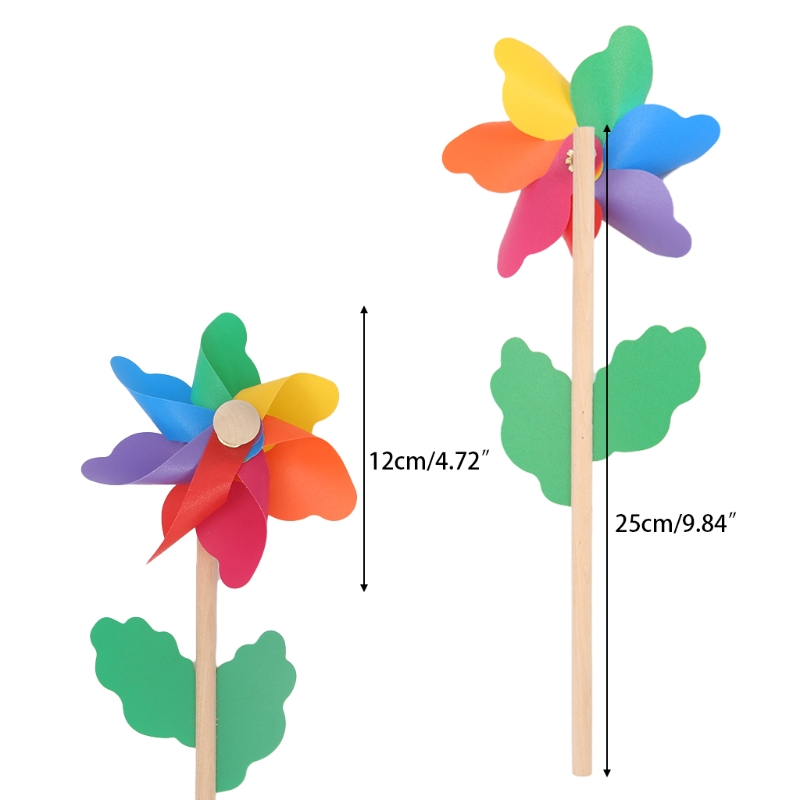 Wood Windmill Wind Spinner Pinwheels Home Garden Yard Decoration Kids Toys New 1