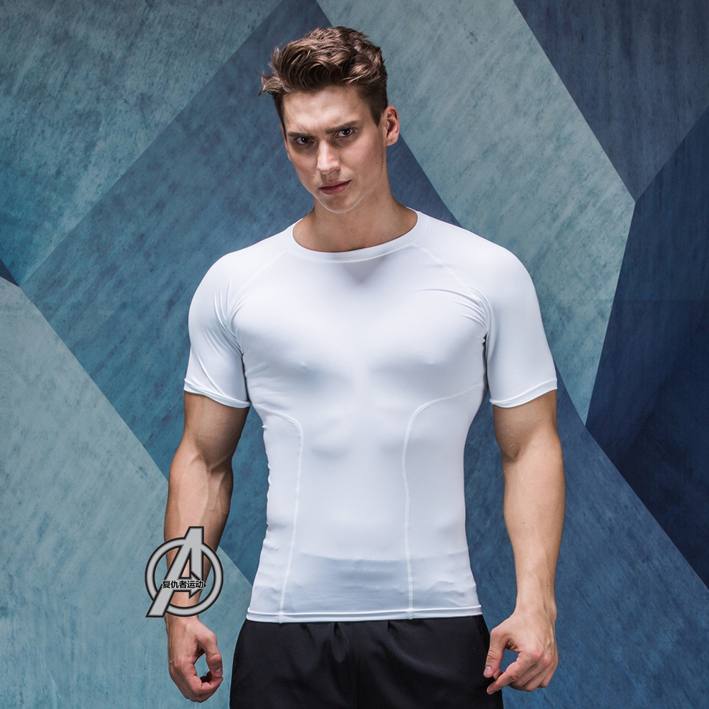 Elastic force Quick dry Breathable Men Sports T shirt Tee Shirts Homme Bodybuilding Fitness