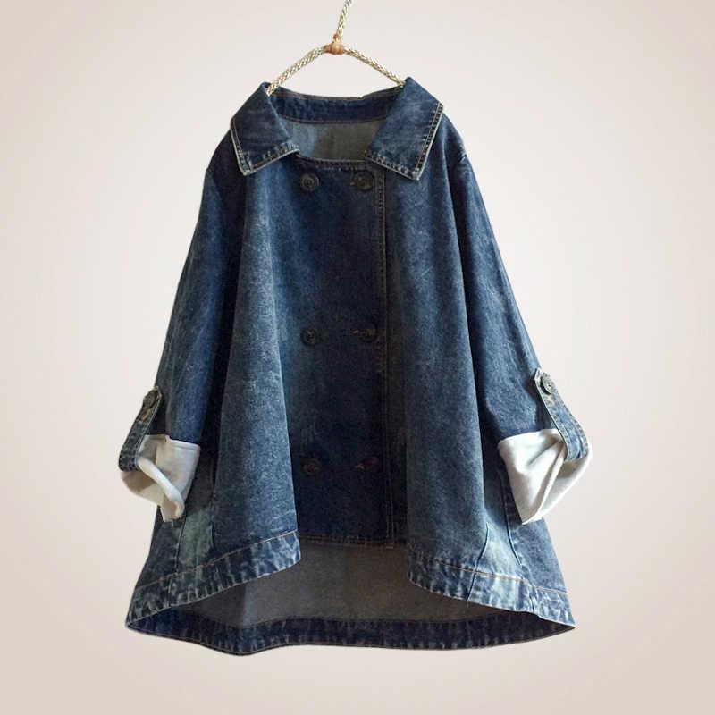 2019 Весенняя ковбойская куртка, осенняя Женская модная новая двубортная джинсовая куртка большого размера, свободная женская верхняя одежда для отдыха, WIN105