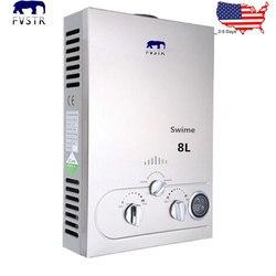 (Barco LOCAL) calentador de agua propano 24KW GLP 8l GLP para caldera de baño instantánea sin tanque termostática cabeza de ducha CE aprobado