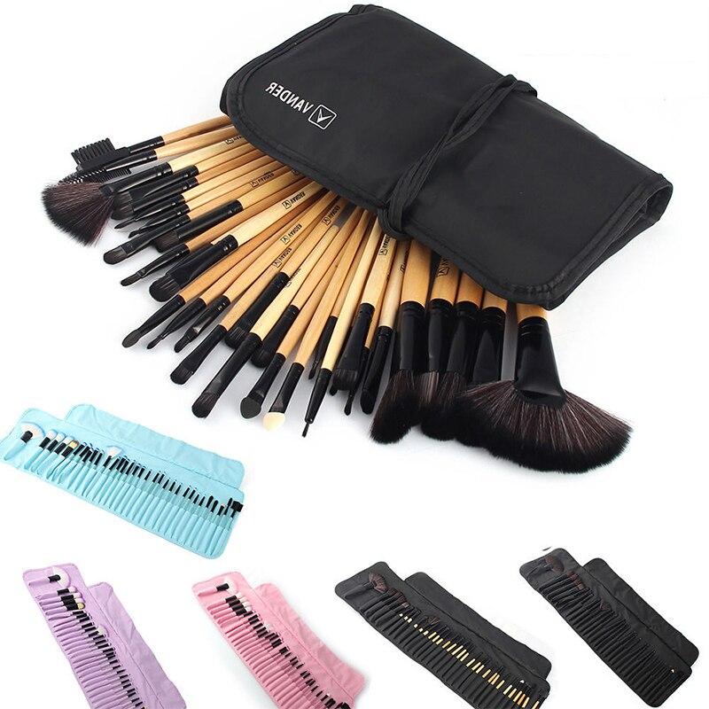 32 pçs conjunto de pincel de maquiagem profissional fundação sombras dos olhos batons em pó compõem escovas ferramentas com saco pincel maquiagem