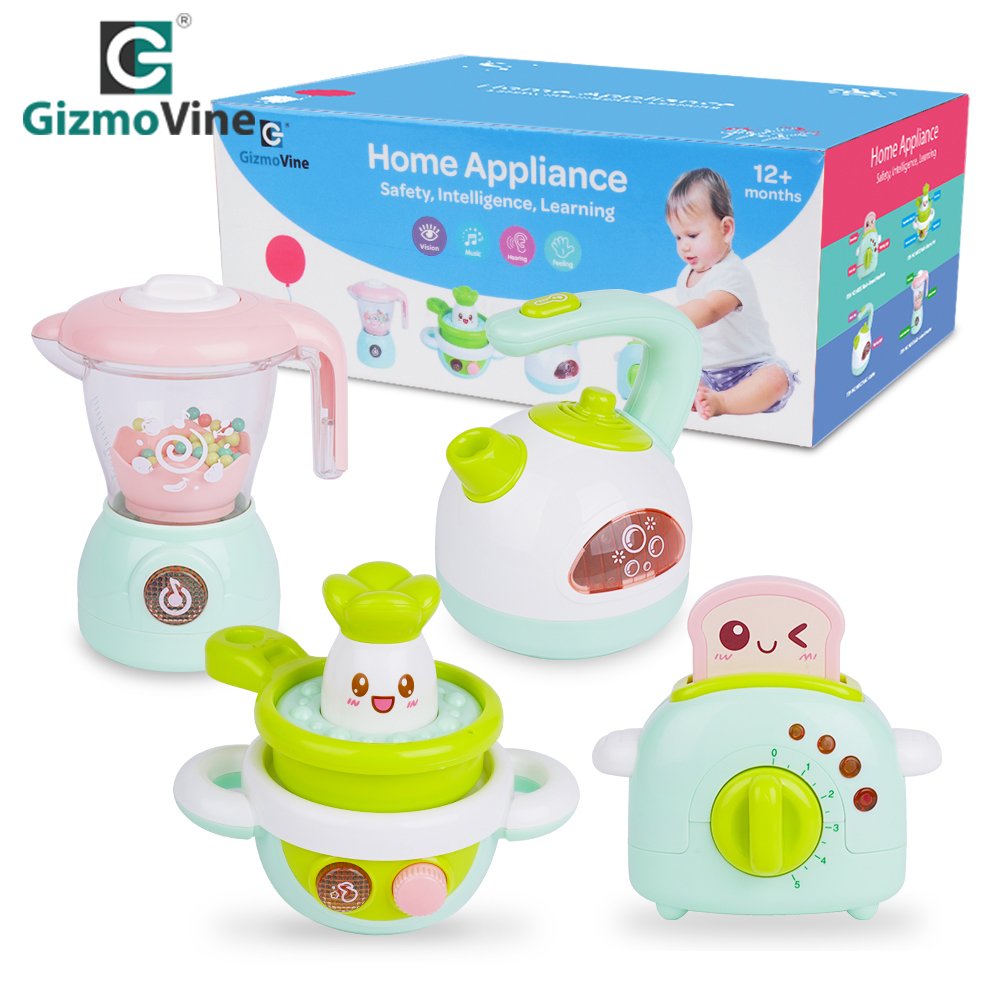 Gizmovine 4pcs Pretend Play Toys Set Intelligent Children Toy Cartoon Kitchen Cooking Model Pretend Playset Kitchen Kits Toy