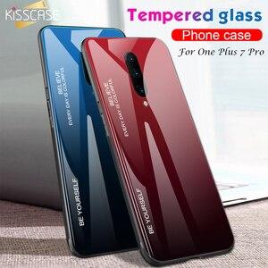 Image 2 - KISSCASE Cho Oneplus 7 Pro Ốp Lưng Kính Cường Lực Sang Trọng Gradient Silicone Mềm Khung trong Cho Một Plus 7 Điện Thoại ốp lưng Funda