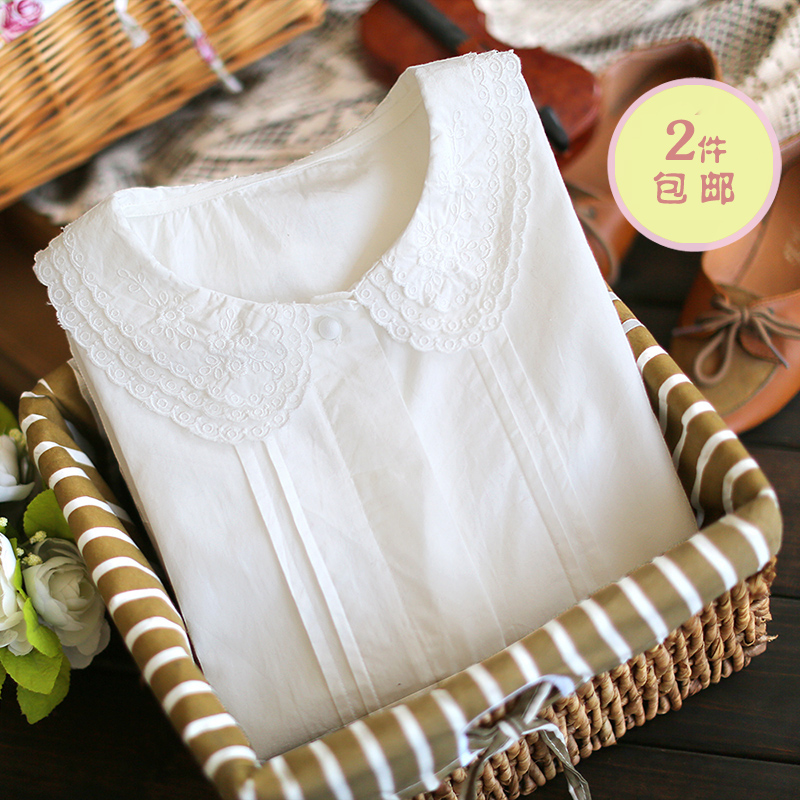 2014 Seconds Kill Real Cotton Full Dobby Blusas Blouse E4279-2013 Sweet Laciness Peter Pan Collar Pleated 0919 Long-sleeve Shirt