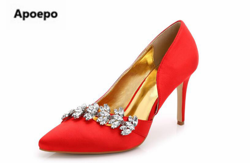 Apoepo luxury brand shoes white crystal wedding shoes sexy pointed toe high heels pumps shoes women black red party dress shoes newest flock blade heels shoes 2018 pointed toe slip on women platform pumps sexy metal heels wedding party dress shoes