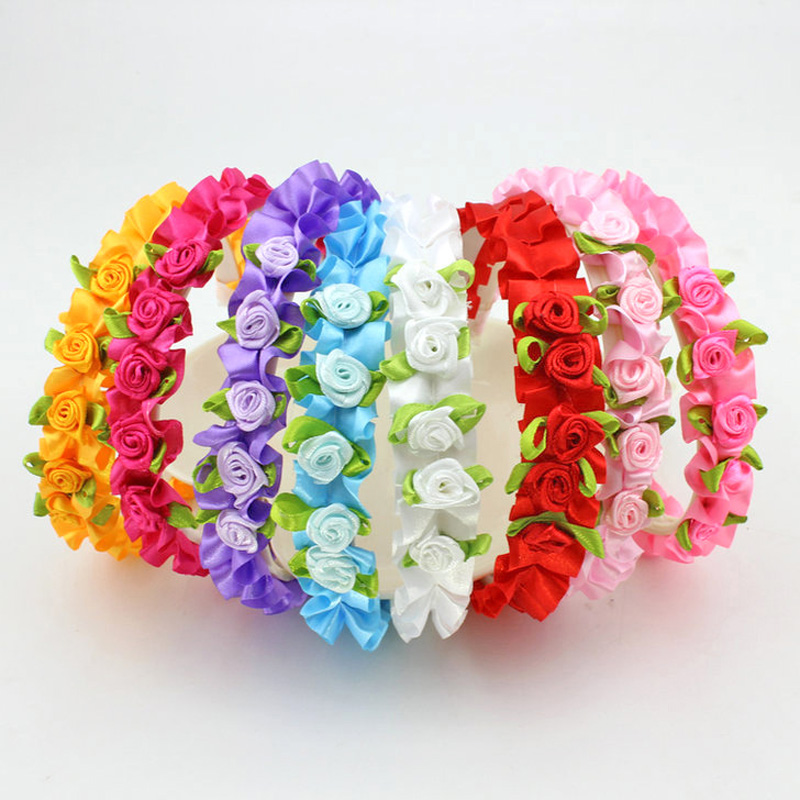 8Pcs Girl Flower Headband Wedding Festival Alice Head Bands Rose Hairbands Headwear Decoration Hair Accessories Drop Shipping bebe girls flower headband four felt rose flowers head band elastic hairbands rainbow headwear hair accessories