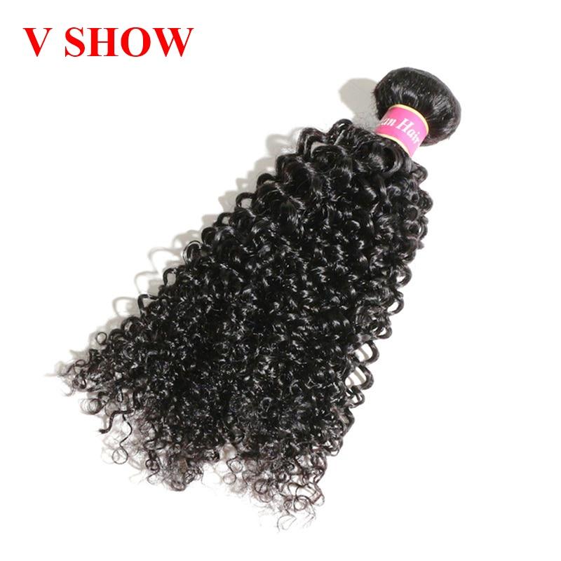 VSHOW HAIR Mongolian Kinky Curly Hair 100% Human Hair Weave Bundles Natural Color Remy Hair Bundles Free Shipping
