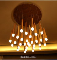 Country Style Wood Pendant Lights LED Loft Decor Hanging Lamp for Foyer Living Room Hotel Cafe Restaurant Modern Wood Lamp