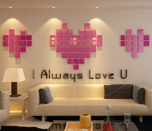 2018 new Love mosaics acrylic living room wall stickers 3D stereoscopic cards DIY Wall Stickers ornaments bedroom