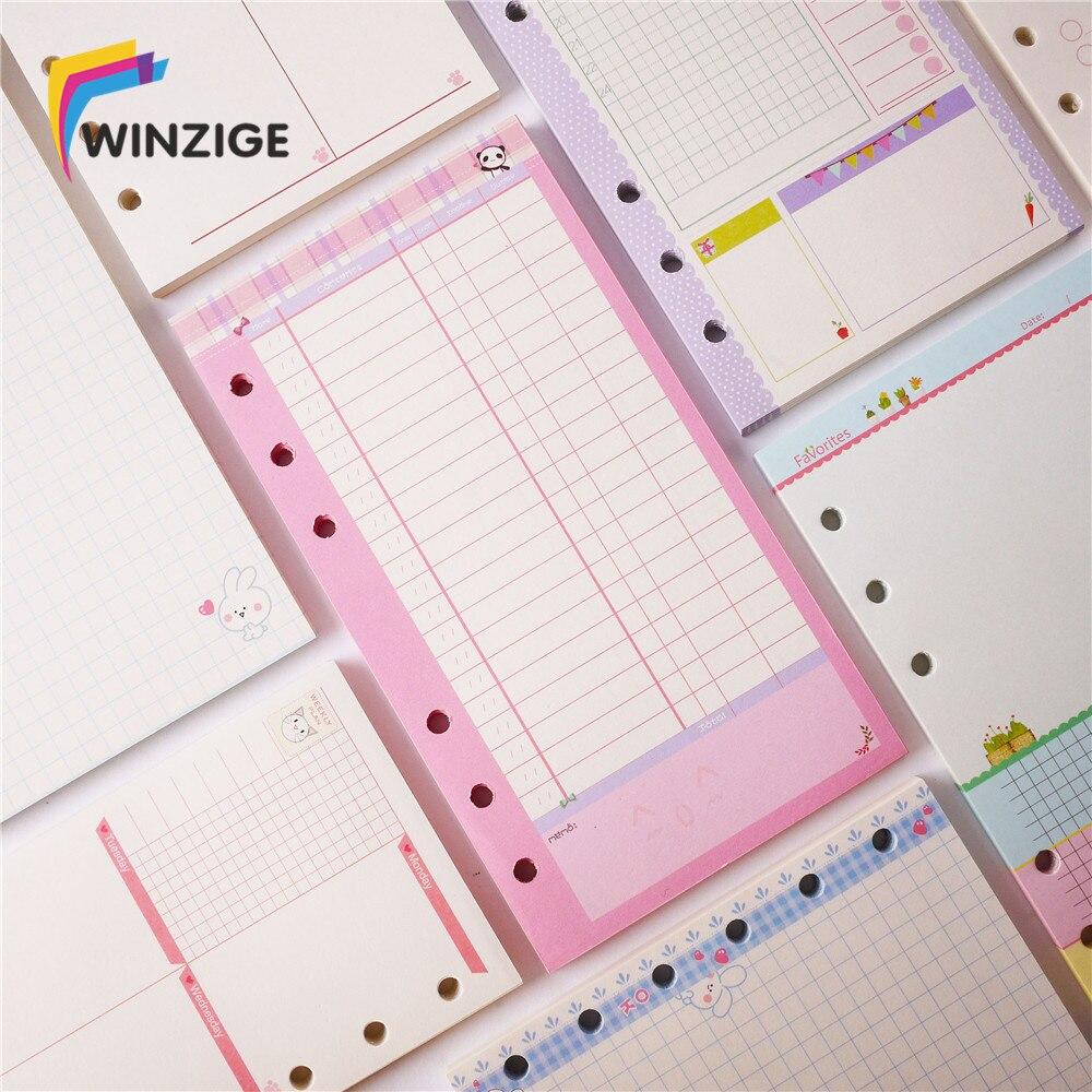Hot New Cute A5/A6/A7 Notebooks Filler Papers Creative 6 Holes Spiral Filler Paper For Filofax Binder Planner School Supplies