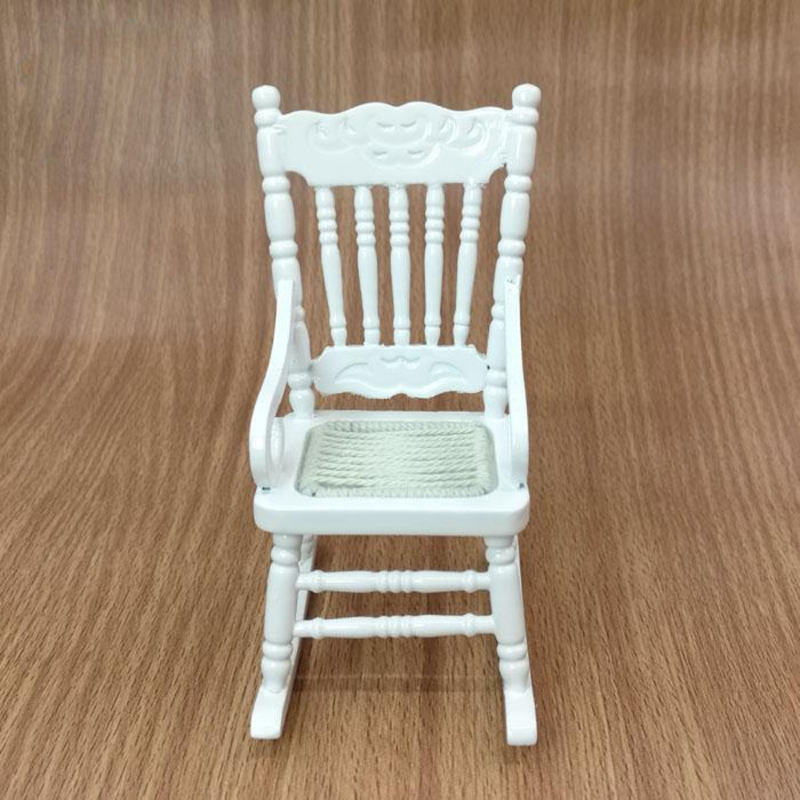 1:12 Dollhouse Miniature Furniture White Wooden Rocking Chair Hemp Rope  Seat In Wood DIY Crafts From Home U0026 Garden On Aliexpress.com | Alibaba Group