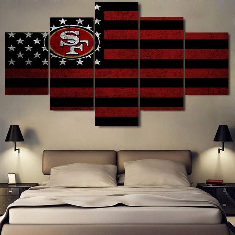 5 Panel Framed Modular Picture San Francisco 49ers Flag Modern Home Wall Decor Picture Art Hd