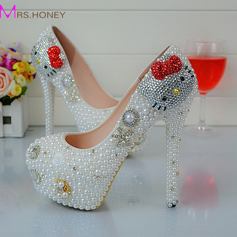 ФОТО Cartoon Hello Kitty Rhinestone Wedding Shoes White Pearl Spring Autumn Lady Party Shoes Anniversary Party Prom Heels Big Size 45
