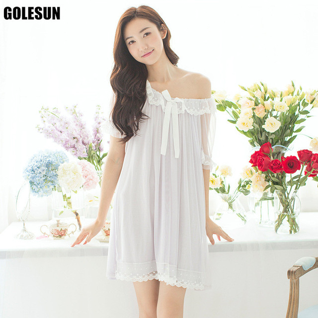 ... Gown XXXL Source · Women White Cotton Nightgown female Eroupe style  beautiful Summer 08201dc75