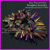 Raw Titanium Roxo/Ouro Cristal De Quartzo Pontos Varas Rainbow Druzy Pingente Spikes Galvanizado Perfurado Briolettes Beads
