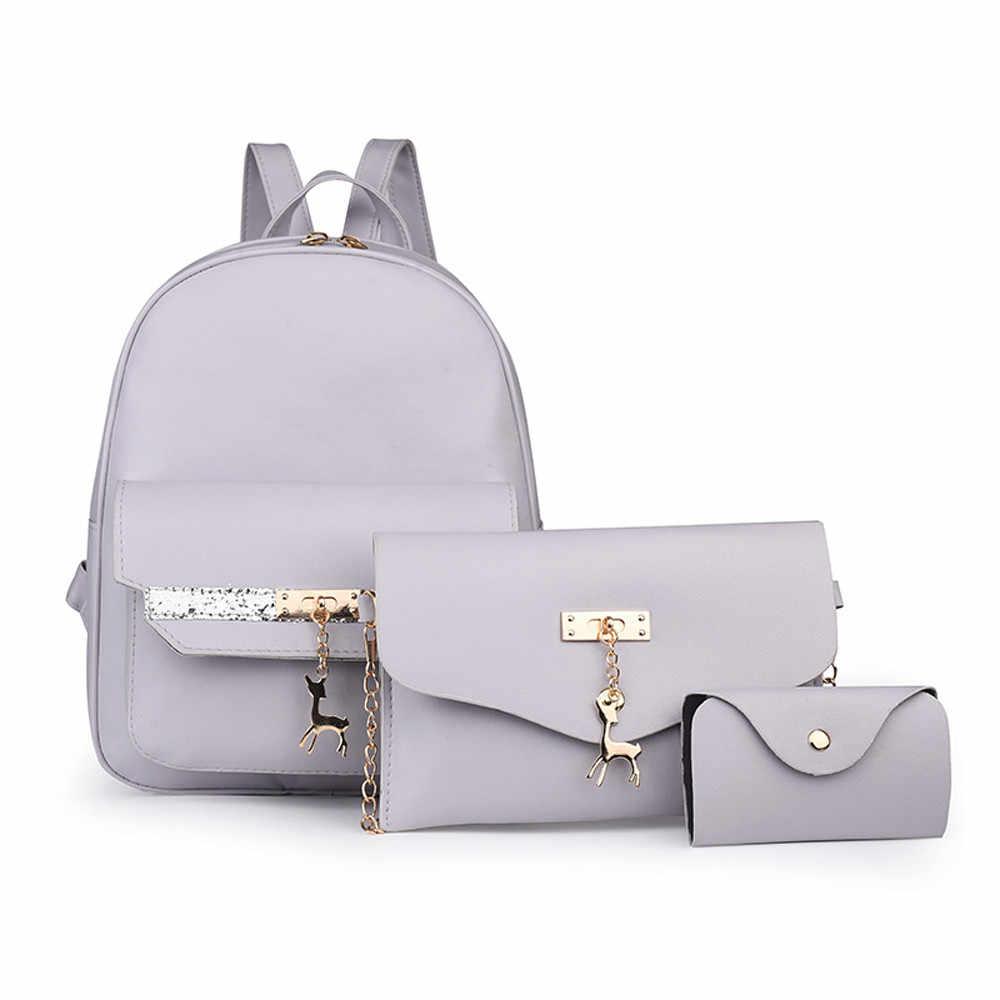 Мода Woemn кожаный маленький рюкзак с оленем для женщин 2019 студентов школы mochila para ruck школьная сумка + сумка-мессенджер + карта пакет #89