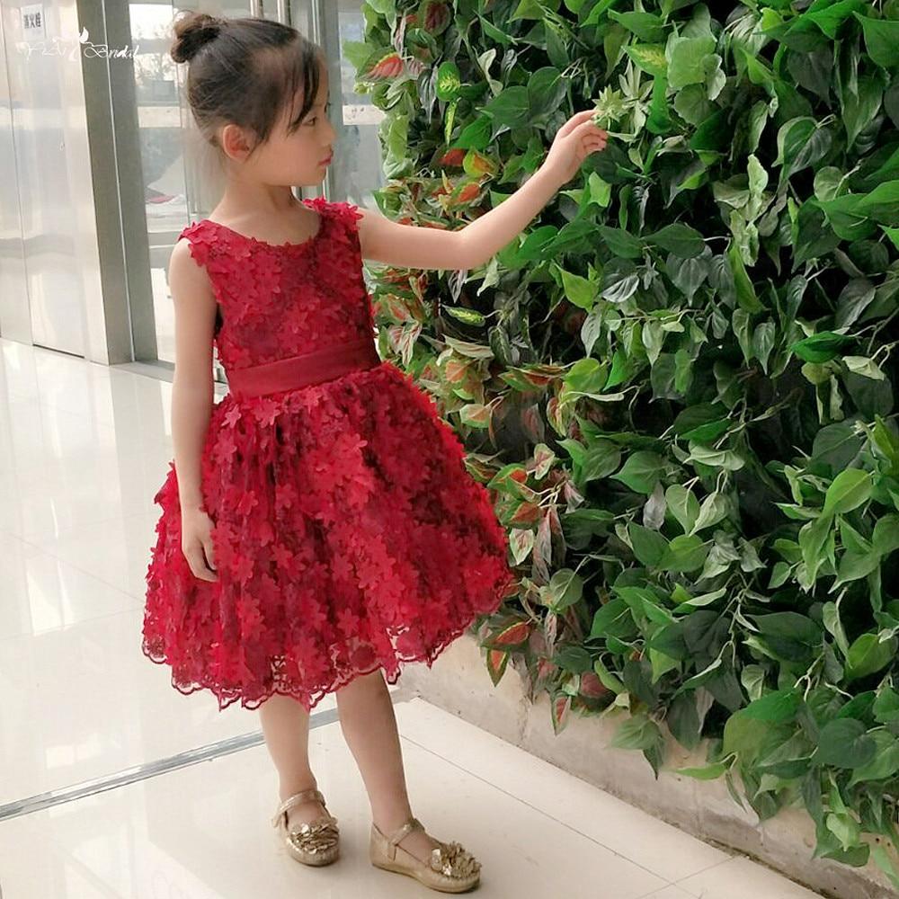 LZC023 Red wine Sleeveless O Neckline Bow   Flower     Girl     Dresses   Kids Beauty Pageant   Dresses