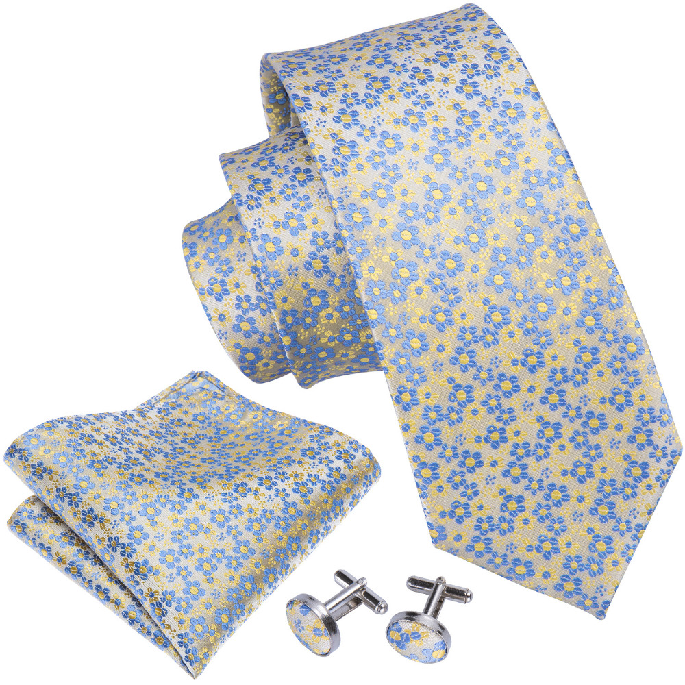 LS-5014 2018 New Mens Tie 100% Silk Jacquard Woven Wedding Blue Floral Tie For Men Groom Barry.Wang Dropshipping NeckTie Set