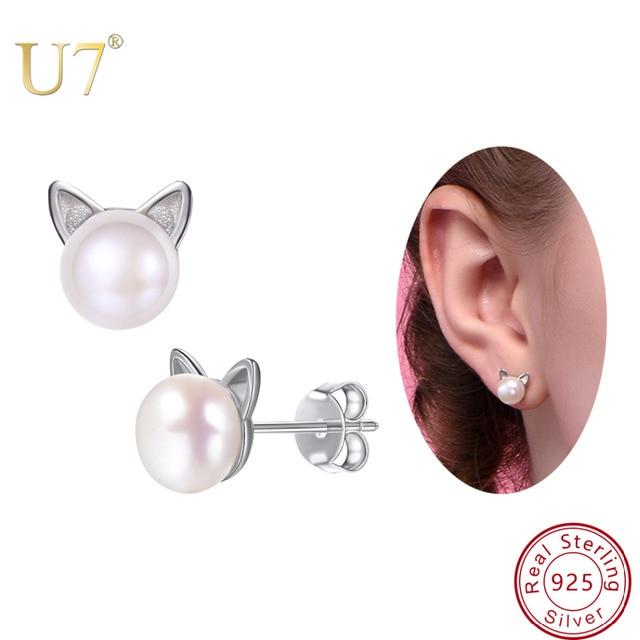 U7 925 Sterling Silver Cute Earrings Cat Stud Earings Women Wedding Jewelry Natural Freshwater Pearl Earrings Mother's Gift SC02