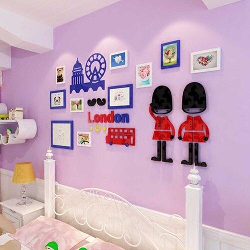 Britannique londres vue créative photo mur 3 d acrylique mur bâton Royal soldat Photo cadre conception maison autocollant décoration