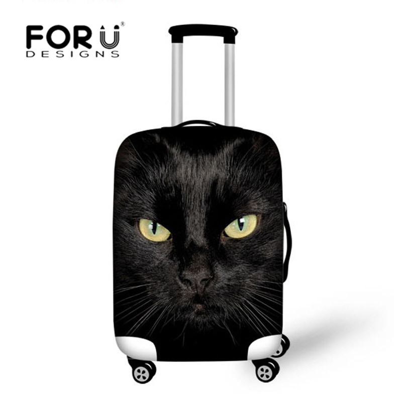 FORUDESIGNS Black Cat Printed Travel Bags Luggage Cover Thick Elastic Stretch Protective Suitcase Covers Apply to