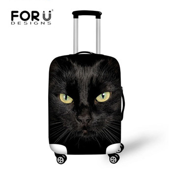 FORUDESIGNS Black Cat Printed Travel Bags Luggage Cover Thick Elastic Stretch Protective Suitcase Covers Apply to 18-30 Case