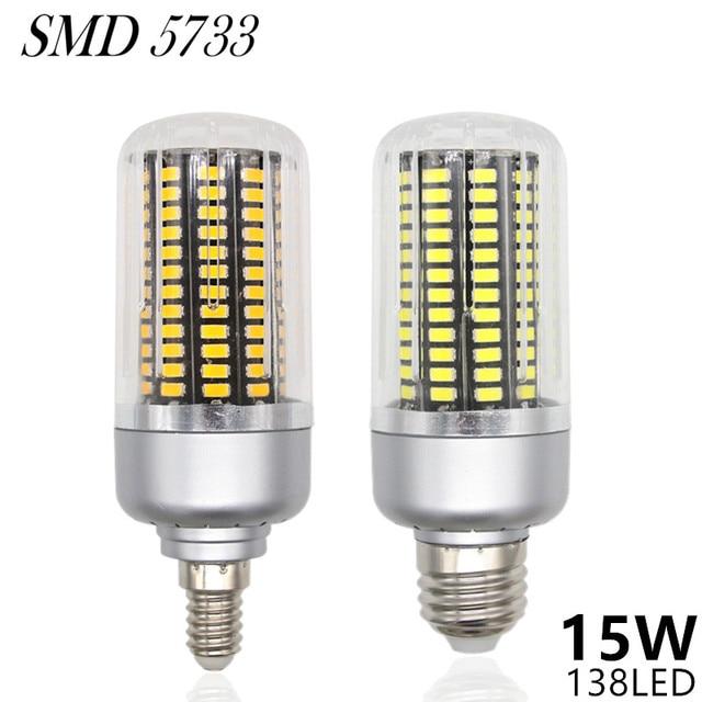 Dimmable LED Lamp E27 220V 15W 138LED 5733 SMD Lampada LED Bulbs E14 Corn Light Lamparas LED Spotlight Candle Luz Home Lighting