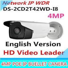 New English Version IP Camera 4.0 megapixel V5.3.3 Multi Language Bullet IR Camera POE IP Camera DS-2CD2T42WD-I8 WDR Function