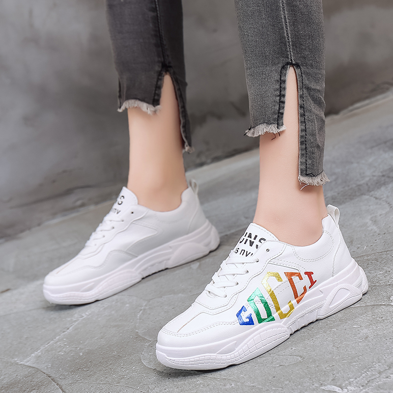 Women Sneakers New Spring Woman Fashion Casual Platform Shoes Woman Vulcanized Shoes White Lace-up Ladies Shoe Zapatillas Mujer