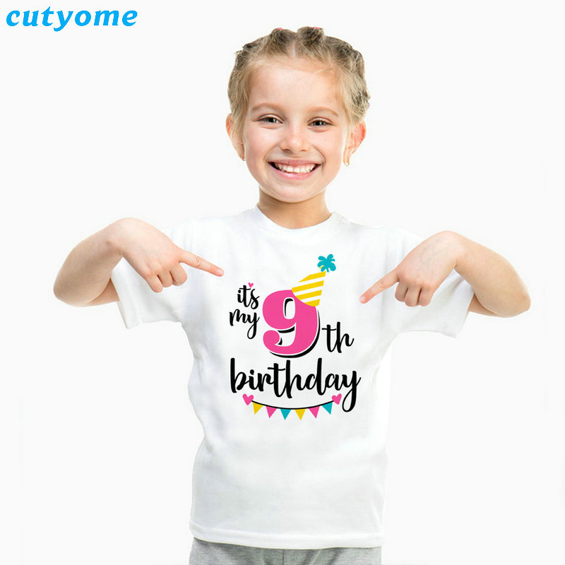 Summer Baby T Shirt Tops Children's Clothing Happy Birthday Girls Boys Short Sleeve Kids Clothes Tee Girls Boys' T-shirts Casual (26)