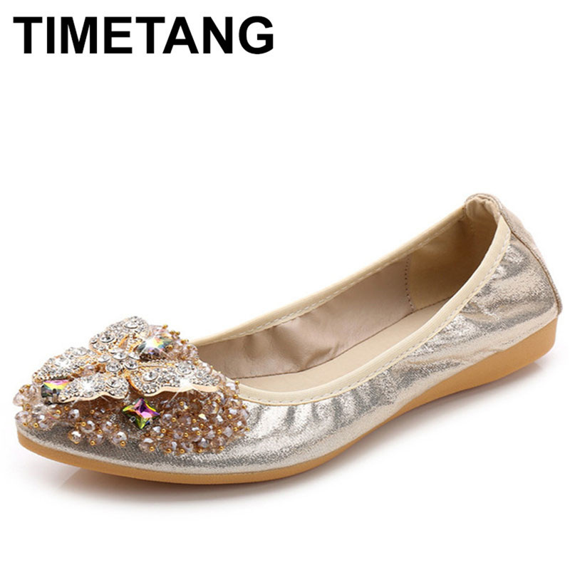 TIMETANG Women Bling Cloth Pointed Toe Ballet Flats  Spring/Autumn Female Brand New Crystal Slip-On Casual Shoes pu pointed toe flats with eyelet strap