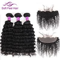 Soft Feel Hair Deep Wave Brazilian Hair Lace Frontal Closure With Bundles Human Hair 3 4