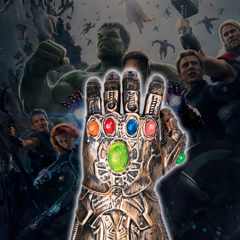 Infinity Gauntlet Avengers 4 Infinity War Thanos Gloves Cosplay Prop Avengers LED Gloves PVC Toys Kids Adult Halloween Party