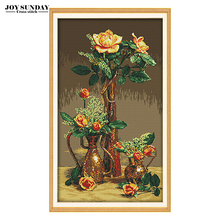 Gold Roses cross stitch set 14ct 11ct dmc counted printed patterns diy handwork europe style embroidery kit needlework