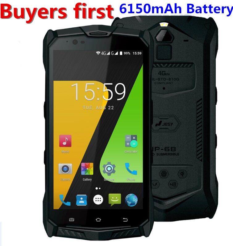 JESY J9S IP68 Waterproof android 7.0 MTK6755 Octa Core 4G LTE mobile phone 4GB RAM 64GB ROM 5.5 NFC OTG PTT 6150mAh Smartphone