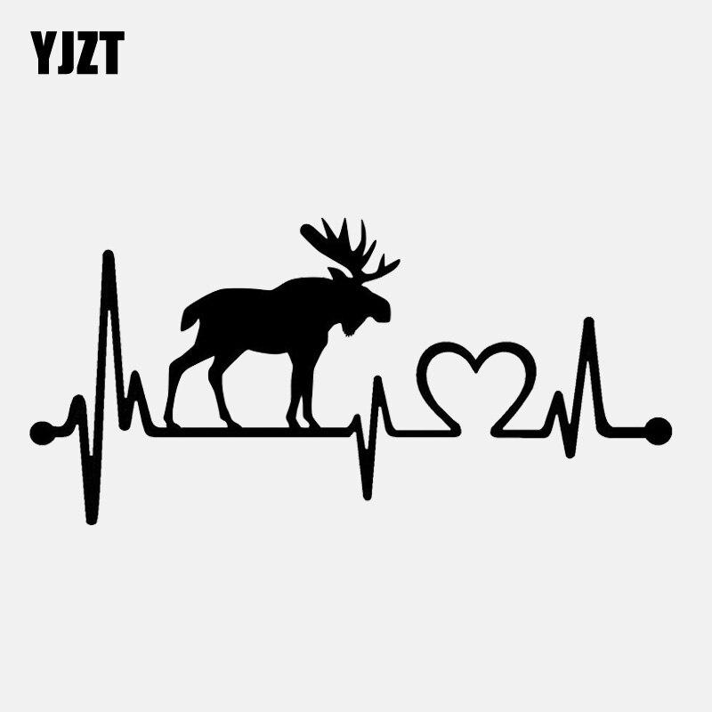 YJZT 14CM*6.7CM Moose Elk Heartbeat Lifeline Vinyl Motorcycle Black/Silver Car Sticker C22-1057