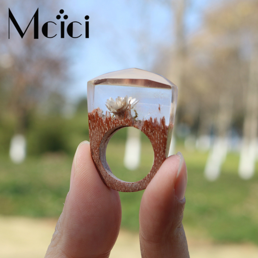 2018 Handmade Wood Resin Ring Snow Lotus Flower Inside Ring