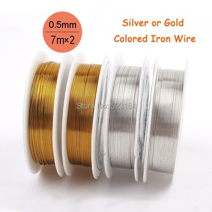 2 pces espessura 0.5mm 24 calibre prata ouro colorido rustless fio de ferro para ofícios de jóias macio total 14 metros fio suprimentos