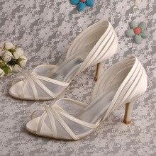 ขายส่งและค้าปลีกบนสลิปรองเท้าสำหรับรองเท้าผู้หญิงแต่งงานเจ้าสาวซาตินสีงาช้างD Ropshipping
